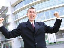 Uomo d'affari vittorioso Fotografia Stock Libera da Diritti