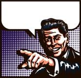 Uomo d'annata che parla con indicare l'illustrazione di Pop art di stile del libro di fumetti del dito Fotografie Stock Libere da Diritti