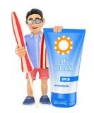 uomo 3D in breve con l'asciugamano e la protezione solare dell'ombrello Immagini Stock