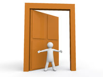 uomo 3d che dà il benvenuto alla porta Immagini Stock Libere da Diritti