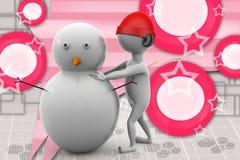 uomo 3d che fa l'illustrazione dell'uomo della neve Fotografia Stock Libera da Diritti
