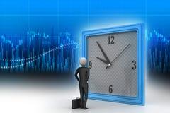 uomo 3d che guarda l'orologio Immagine Stock Libera da Diritti