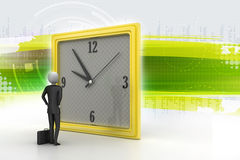 uomo 3d che guarda l'orologio Fotografia Stock Libera da Diritti