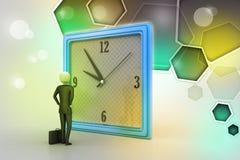 uomo 3d che guarda l'orologio Fotografia Stock