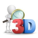 uomo 3d che guarda una parola 3d con una lente d'ingrandimento Fotografie Stock