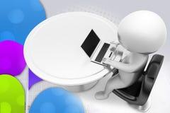uomo 3d che lavora all'illustrazione del computer portatile Fotografia Stock Libera da Diritti