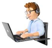 uomo 3D che lavora in una call center Fotografie Stock