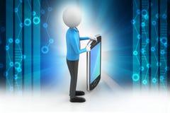 uomo 3d che mostra il computer della compressa Immagini Stock Libere da Diritti