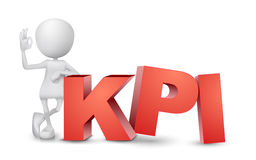 uomo 3d che mostra il segno giusto della mano con KPI Immagine Stock