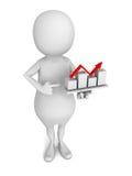 uomo 3d che presenta il grafico del grafico di crescita di affari su backgroun bianco Fotografie Stock Libere da Diritti