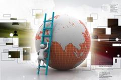 uomo 3d che scala il globo con l'aiuto della scala Immagine Stock