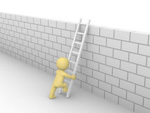uomo 3d che scala sul muro di mattoni Immagini Stock