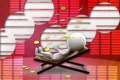uomo 3d che si rilassa sulla sedia, illustrazione della pioggia della moneta di oro Fotografie Stock Libere da Diritti
