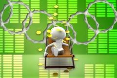 uomo 3d che si rilassa sulla sedia, illustrazione della pioggia della moneta di oro Fotografia Stock