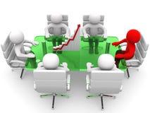 uomo 3D che si siede ad una tavola e che ha riunione d'affari Immagini Stock Libere da Diritti