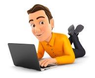 uomo 3d che si trova sul pavimento e che per mezzo del computer portatile illustrazione di stock