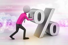 uomo 3D che spinge il segno di percentuali Immagine Stock