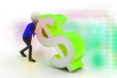uomo 3d che spinge il simbolo di dollaro Fotografia Stock Libera da Diritti