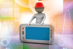 uomo 3d che sta con lo Smart Phone Fotografia Stock