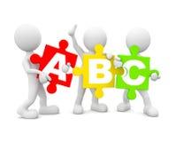 uomo 3D che tiene multi alfabeto colorato inglese Fotografie Stock
