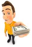 uomo 3d che tiene una pila di banconote in dollari Fotografia Stock