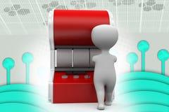 uomo 3d che usando l'illustrazione dello slot machine Fotografia Stock
