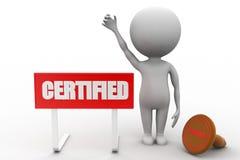 uomo 3d con il concetto certificato Fotografia Stock