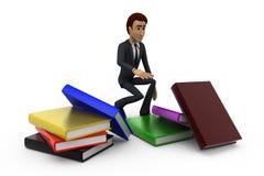 uomo 3d con il concetto dei libri Immagine Stock