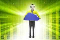 uomo 3d con il concetto della nuvola Fotografia Stock