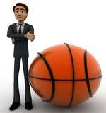 uomo 3d con il grande concetto della palla del canestro Fotografie Stock Libere da Diritti