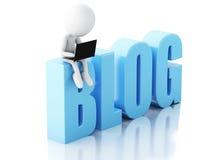 uomo 3d con il segno del blog e del computer portatile Concetto di notizie sul backgrou bianco Fotografia Stock Libera da Diritti