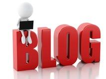 uomo 3d con il segno del blog e del computer portatile Concetto di notizie sul backgrou bianco Fotografie Stock