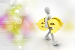 uomo 3d con il segno del dollaro Immagini Stock Libere da Diritti