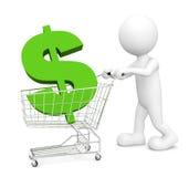 uomo 3D con il simbolo di valuta del dollaro Fotografia Stock