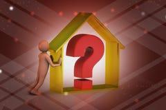 uomo 3d con impresa immobiliare con il punto interrogativo Fotografie Stock Libere da Diritti