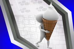 uomo 3d con l'illustrazione del cono gelato Fotografia Stock
