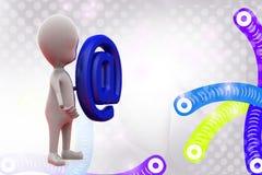 uomo 3d con l'illustrazione dell'icona della posta Immagini Stock