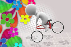 uomo 3d con l'illustrazione della bici di acrobazia Fotografia Stock