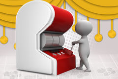 uomo 3d con l'illustrazione dello slot machine Fotografia Stock Libera da Diritti