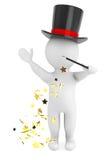 uomo 3d con la bacchetta ed il cappello magici Immagine Stock