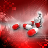 uomo 3d con la capsula, concetto medico Immagini Stock