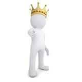 uomo 3d con la corona che indica dito allo spettatore Immagine Stock Libera da Diritti