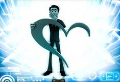 uomo 3d con la grande illustrazione di forma del cuore Immagini Stock