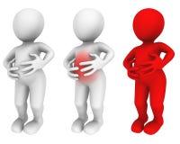 uomo 3d Dolore di stomaco illustrazione vettoriale