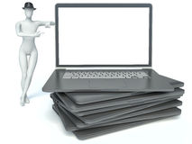 uomo 3d e computer portatile Fotografie Stock