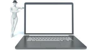 uomo 3d e computer portatile Immagine Stock