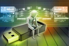 uomo 3d e computer portatile che si siedono usb Fotografie Stock Libere da Diritti