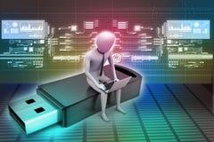 uomo 3d e computer portatile che si siedono usb Fotografia Stock Libera da Diritti