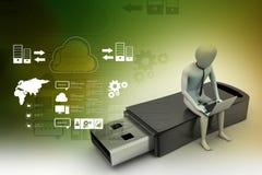 uomo 3d e computer portatile che si siedono usb Immagine Stock Libera da Diritti