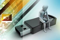 uomo 3d e computer portatile che si siedono usb Fotografia Stock